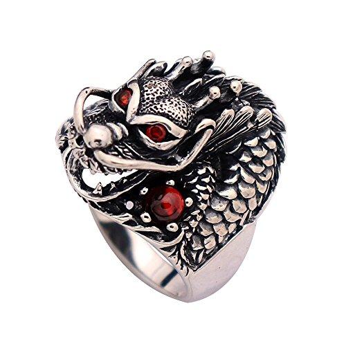 FORFOX Herren Damen Vintage Schwarz 925 Sterling Silber Chinesischer Drachenring mit roten Steinen Größe 57