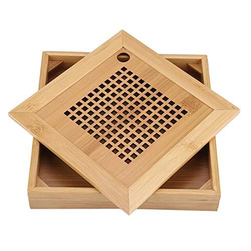 SEHNL Mini Cuadrado bambú Bandeja de té Drenaje Agua Almacenamiento de Agua Kung fu Juego de Tablero Mesa Mesa China Taza Taza Ceremonia Herramientas