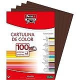Fixo Paper 11110440 – Paquete de cartulinas A4 – 100 unidades color marrón chocolate, 180g