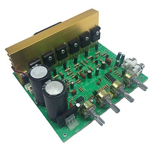 Andifany Placa de Amplificador de Potencia de Audio DX-2.1 3X80W Placa de Amplificador de Potencia de Subwoofer 2.1 de Alta Potencia con Ventilador de RefrigeracióN