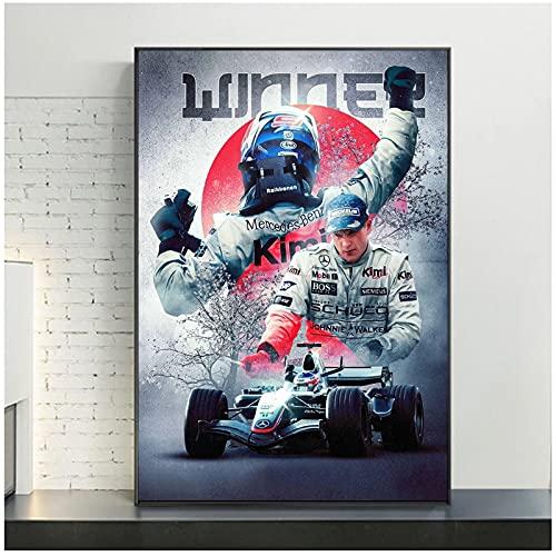 ZNNHEROPóster De Ayrton Senna Legend F1, Piloto De Carreras, Pintura En Lienzo De Colores, Cuadro Artístico para Pared, Sala De Estar-50X75Cmx1 Sin Marco