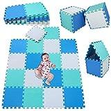 MSHEN18 Piezas Alfombra Puzzle Bebe con Certificado CE y certificación EVA | Puzzle Suelo Bebe | Puede ser Lavado Goma eva,Tamaño 1.62 Cuadrado,blanco-azul-verde-010708g18
