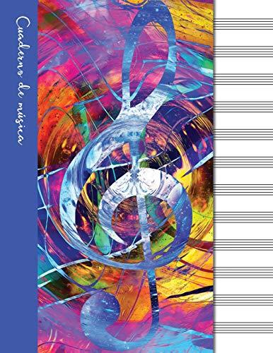 Cuaderno de música: Cuaderno de pentagramas - Cubierta azul (Cuadernos de música)