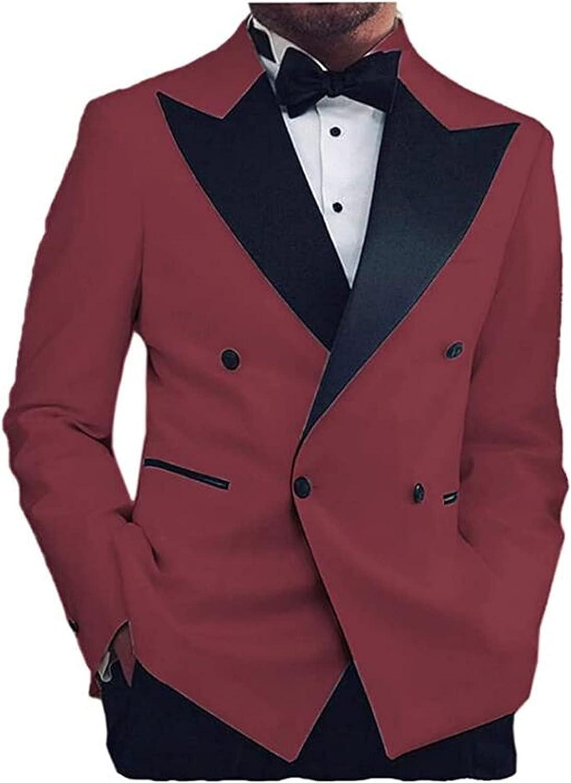 Double Breasted Men Suits(Jacket+Pants) Slim Fit Blazer Wedding Grooms Tuxedo