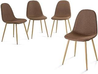 Home Heavenly® Pack de Cuatro sillas Comedor, solón Neder, sillas nórdicas, Modelo Vintage tapizadas en Tela y Patas Color Roble - Neder - marrón