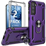 [2 Pack] Profer Compatible with Samsung Galaxy S21 5G Case Clear with Stand Kickstand Ring Magnetic Slim Heavy Duty Defender Armor Military Grade Silicone Phone Cover for Samsung S21 Case Purple