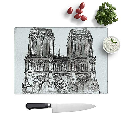 Tempered Glass Chopping Board - Notre Dame in Paris France in Abstract - Textured Worktop Saver Cutting Board - Heat Resistant, Shatterproof and Hygenic - 39 x 28.5 cm