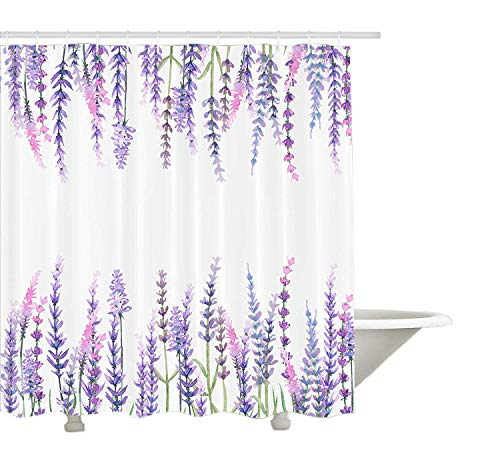 Yeuss Purple Decor Collection, Lavendelpflanzen Aromatischer immergrüner Strauch der Mint Family Nature Oils Country Style Print, Bad-Duschvorhang-Set aus Polyestergewebe, Flieder