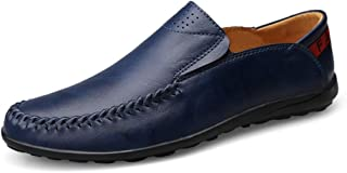 QinMei Zhou Men's Light-Weight Slip-on Round Toe Penny Loafers Soft Leather Upper Flat Lined Driving Dress Shoes Durable Breathable Elastic (Color : Blue, Size : 6 UK)