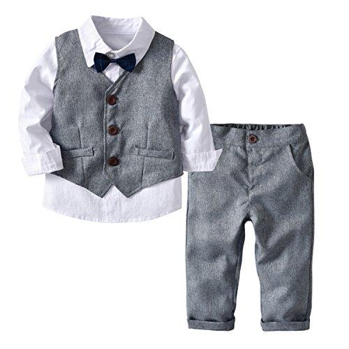 Echinodon [Bekleidungsset Junge Festlich] Kinder Hemd mit Fliege + Weste + Hose Kleinkinder Gentleman Set Baby Taufe Anzug Grau 90
