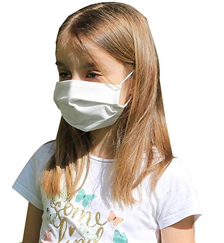 Pack 10x Mascarilla Higiénica Reutilizable UNE 0065 Tela 100% Algodón - Lavable - Niño 9-12 años - Homologada - Hecho en España - Tecnología Cottonblock