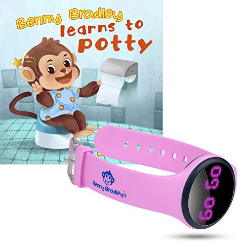 Benny Bradley's Potty Training Watch, with Potty Training eBook - Musical and Vibration Interval Reminders, Water Resistant, for Babies, Toddlers and Kids Potty and Toilet Training (Pink)