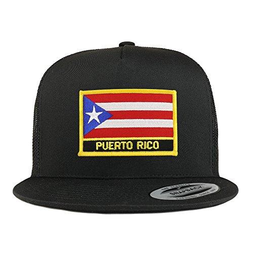 Trendy Apparel Shop Puerto Rico Flag 5 Panel Flatbill Trucker Mesh Snapback Cap