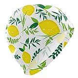 Tcerlcir Gorro Natación Patrón de Hoja de limón Gorro de Piscina para Hombre y Mujer Hecho de Silicona Ideal para Pelo Largo y Corto