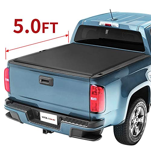 YITAMOTOR Soft Roll Up Truck Bed Tonneau Cover Compatible with 2015-2021 Chevy Colorado/GMC Canyon, Fleetside 5 ft Pickup Cargo Bed, Waterproof Tear-Resistant PVC