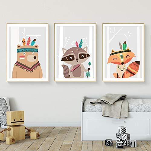 Juego de 3 Cuadros Infantiles Nino Posteres Animales Laminas Zorro Oso Mapache Impresiones sobre Lienzo Decoracion Habitacion Bebe pared Regalo Sin Marco NPTWC009-M