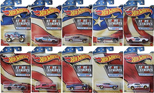 American Stars and Stripes Exclusive Series 10 Car Set Bundled with Camaro / Plymouth / Barracuda / Mercury Cougar / Chevy Blazer / El Camino 10 Items Red White & Blue