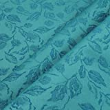 Stoff Polyester Jacquard Blätter aqua 25.000 Martindale