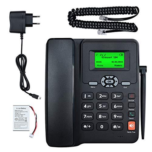Lychee Cuatribanda gsm Teléfono Fijo Pare tu Oficina o Familia -SIM Dual, Admite Varios Idiomas (Incluido el español),Manos Libres,Calendario,Radio, Despertador