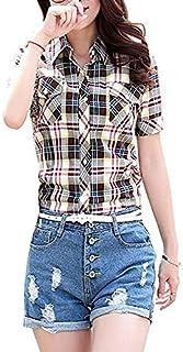 Camisa de Manga Corta Ajustada para Mujer Blusa de Verano de algodón a Cuadros