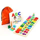 TOYVENTIVE Wooden Shapes Number Puzzle for Toddlers - Preschool Educational Learning Montessori Toys Ages 3 4 5 Years Old, Wood Puzzles Sorting Stacking Math Counting Blocks Toys for Kids