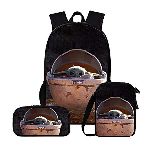 The Mandalorian Kids Backpacks School 3 Pieces Sets Backpacks + Shoulder Bags + Pencil Bag for Student Soft Schoolbag Sports Daypack Unisex Kids (Color : A12, Size : 40 X 30 X 13cm)