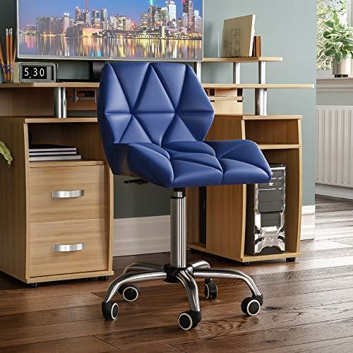 Vida Designs Geo Office Computer Chair, Blue, Gaming Secretary Adjustable Swivel Legs Lift Chrome PU Faux-Leather