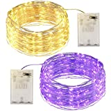 N/A. Orapink String Light 9.8ft 30 LED Decorative Copper Wire Lights,2 Pack Yellow,Purple Fairy Lights for Christmas Tree Halloween Thanksgiving Wedding Party Home Bedroom Decoration