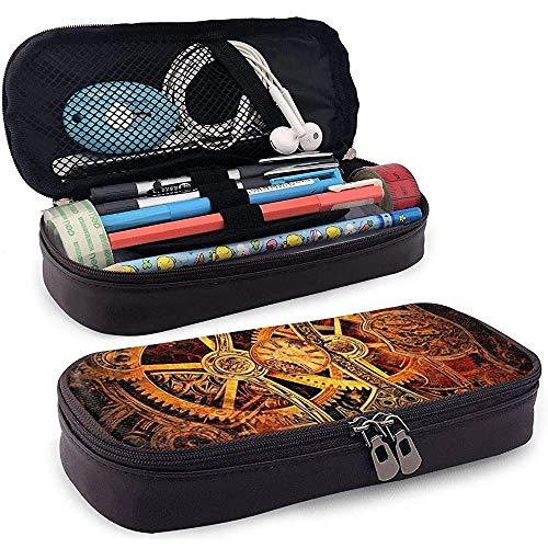 Estuche de lápices de cuero PU con cremallera, estuche de marcador de almacenamiento de gran capacidad, estuche para bolígrafo, bolsa de maquillaje-BAK-H1