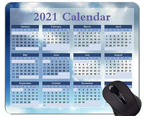 2021 Kalender Hd Font Personalisierte Mauspad, Sky White Clouds rutschfeste Gummibasis Mousepad