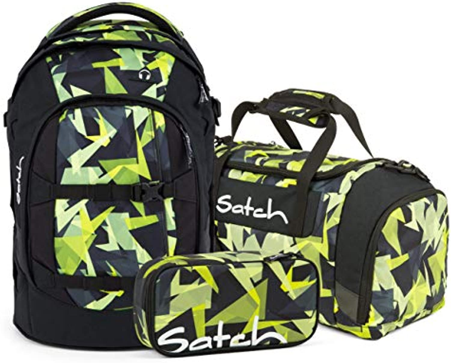 Satch Pack 3er Set Schulrucksack, Sporttasche & Schlamperbox - Gravity Jungle, 30 Liter, 1,2 kg