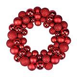 KESYOO Weihnachten Kugelkranz Glitzer Weihnachtskranz Adventskranz Dekokranz 55 Stück Christbaumkugeln Weihnachtsbaum Ball Kranz für Tür Wand Hängen Dekoration Tannenbaumschmuck Rot