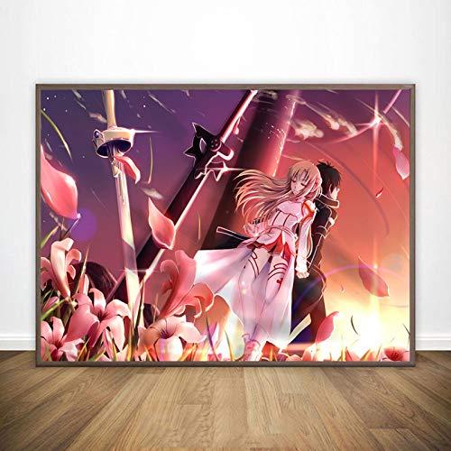 LGYJAL Dipinto su Tela Sword Art Online Kirito Asuna Poster Giappone Videogioco Anime Stampe Immagini a Parete per Soggiorno Decor 50x70 cm (19.68x27.55 in) N-266