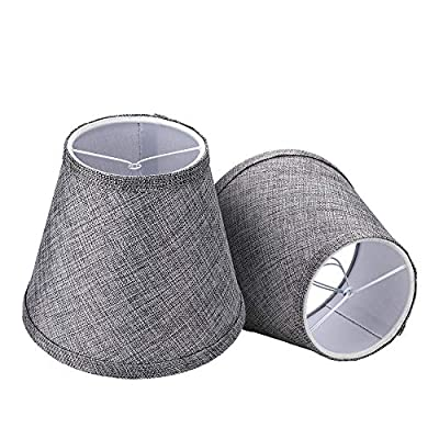 Double Mesh Small Lamp Shade Clip On Bulb Set of 2 for Candelabra Bulbs, Alucset Barrel Fabric Lampshade for Table Chandelier Wall Lamp 4x7x6 Inch, 2Pcs Pack (Grey)