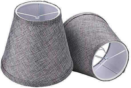 Double Mesh Small Lamp Shade Clip On Bulb Set of 2 for Candelabra Bulbs Alucset Barrel Fabric product image