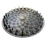 Monsterzeug Tablero de ajedrez redondo para tres jugadores, tres ajedrez, regalos para jugadores de ajedrez, juegos de mesa originales