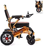 HEZHANG Wheelchair Folding Electric Wheelchair, Lightweight Wheelchair All Terrain Power Scooter Dual Motor Power Chair 12A Lithium Battery 15Km Aluminum Alloy
