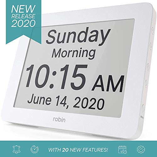 Robin, 2020 Version, Digital Day Clock 2.0 with Custom Alarms and Calendar Reminders, Alarm Clock with Extra Large Display helps with Memory Loss,...