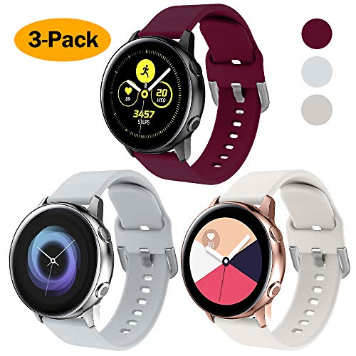 XIMU Compatible con Samsung Galaxy Watch Active 40mm Correa/Galaxy Watch 42 mm Correa,Silicona de Sport Mujeres Ccorreas de los Hombres de Galaxy Watch (L(7-8.5inch, Gris Claro, Burdeos, Albaricoque)