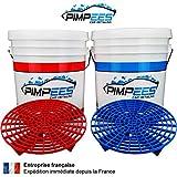 Seaux de Lavage Voiture x2 PIMPEES Wash & Rinse (20 litres) + 2 grilles Anti-remous (Grid Guard) - Format américain - Graduation de contenance - 2 couvercles Gamma Seal Lid