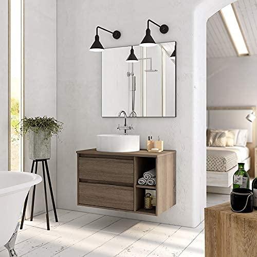 Aquareforma | Mueble de Baño con Lavabo y Espejo | Mueble Baño Modelo Brisol 2 Cajones Suspendido | Muebles de Baño | Juegos de Baño | Diferentes Acabados Color | Varias Medidas (Britania, 80 cm)