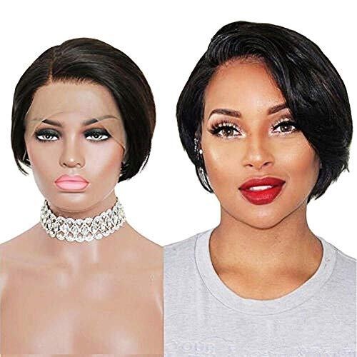 Lace Front Wigs for Black Woman Short Bob Lace Frontal Wigs 100% Human Hair Pixie Cut Wigs Natural Black Brazilian Straight Wig 130% Density With Pre Plucked Haircuts Natural Hairline (1B)