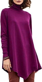 Chunmei Pullover Women Solid Color Thin T-Shirt Turtleneck Skew Hem Long Sleeve Shirt Personality Design Sweatshirt Soft C...
