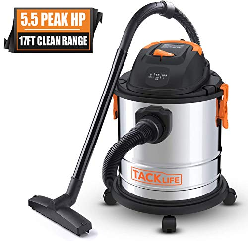 TACKLIFE Wet Dry Vacuum, 5 Gallon, 5.5 Peak HP, 1000W Stainless Steel Wet/Dry Vac, Over 17 FT Clean Range, 4-Layer Filtration System, Dry/Wet/Blow Functions for Cleaning Needs-PVC02A