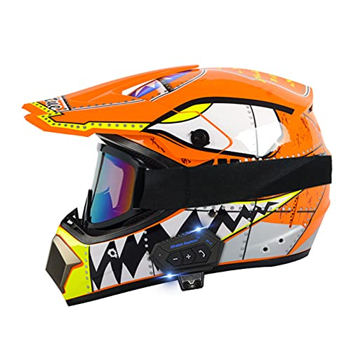 Casco de motocicleta de cara completa, con Bluetooth, apto para hombres y mujeres, C, L