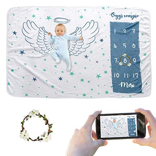 JMITHA - Coperta per bebè mensile, con sfondo natalizio, super morbida, per neonati (Ali d'angelo 1 i) 100x150cm