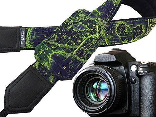 Correa para cámara de mapamundi DSLR/SLR Correa de cámara con Bolsillo Color Azul Oscuro y Accesorios de cámara de Lima. Gran Regalo para Viajero, fotógrafo. 00383