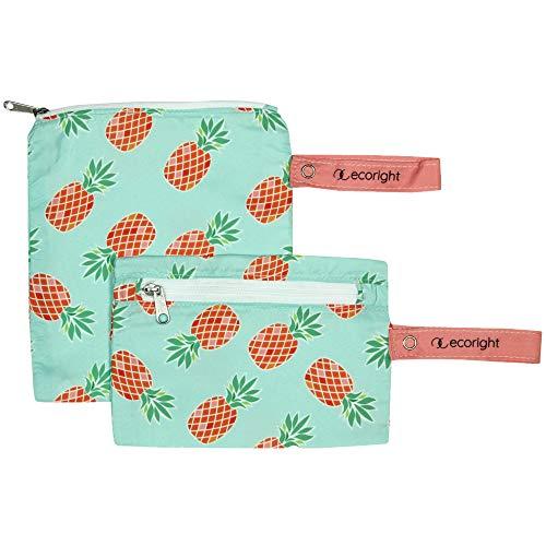 Bolsa reutilizable para sándwiches/bocadillo - Paquete de 2 bolsas de almuerzo lavables de doble capa - Fácil de limpiar - tejido de plástico reciclado | Cono de pino