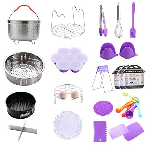 Geezo Instant Pot Accessories Set,121 Pieces Pressure Cooker Accessories Kit,Fits 5,6,8 Qt Instant Pot Pressure Cooker,Non-Stick Springform Pan,Egg Rack,Egg Bites Mold,Kitchen Tong,Dish Plate Clip