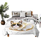 4pcs Bedding Set Bed+Sheets+Queen+Set Bed Sheet Grumpy Angry Cat Love Student Dormitory W104 xL90